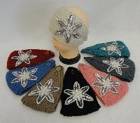 Wide Hand Knitted Ear Band [Star Flower Applique w Gems]